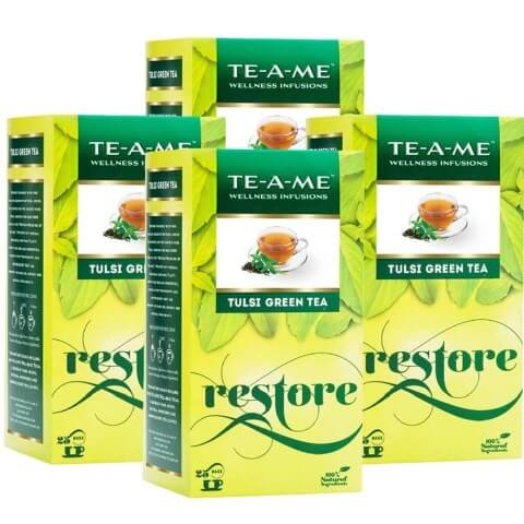 TE-A-ME Tulsi Green Tea (Pack of 4),  25 Piece(s)/Pack  Tulsi