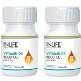 INLIFE Vitamin D3 (1000 IU) Pack Of 2,  60 Capsules
