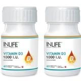INLIFE Vitamin D3 (1000 IU) Pack Of 2,  60 Capsules