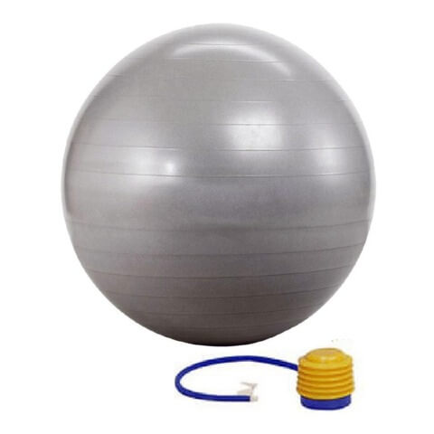 KOBO Anti-Burst Gym Ball With Foot Pump (GB-3-75),  Silver  75 cm
