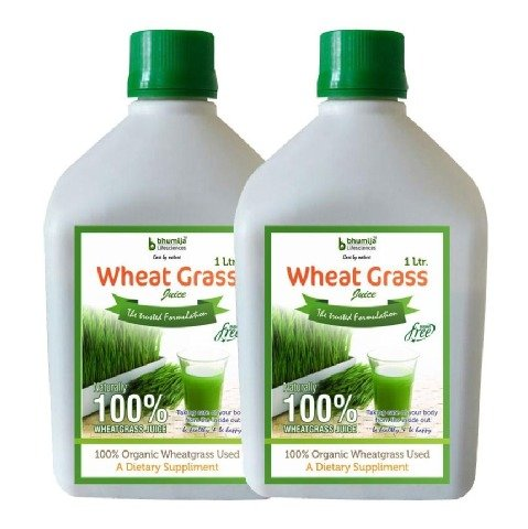 Bhumija Wheat Grass Juice - Pack of 2, Sugar Free 1 L
