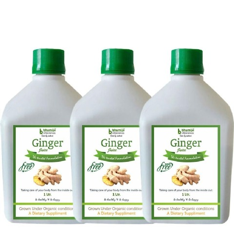 Bhumija Ginger Juice - Pack of 3, Sugar Free 1 L