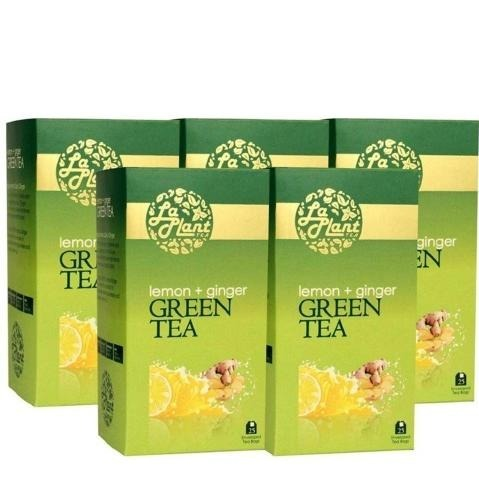 Laplant Green Tea, 25 Piece(s)/Pack Lemon & Ginger - Pack of 5