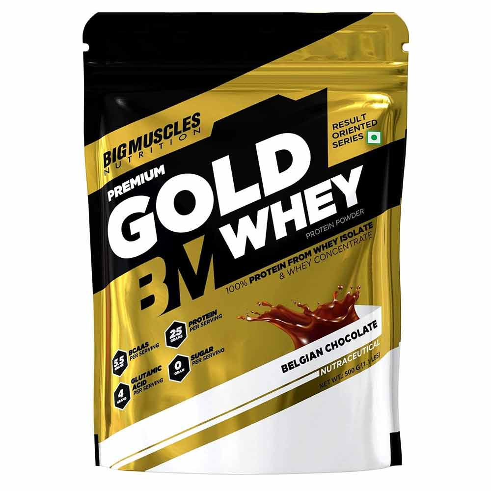 1 - Big Muscles Premium Gold Whey,  1.1 lb  Belgian Chocolate