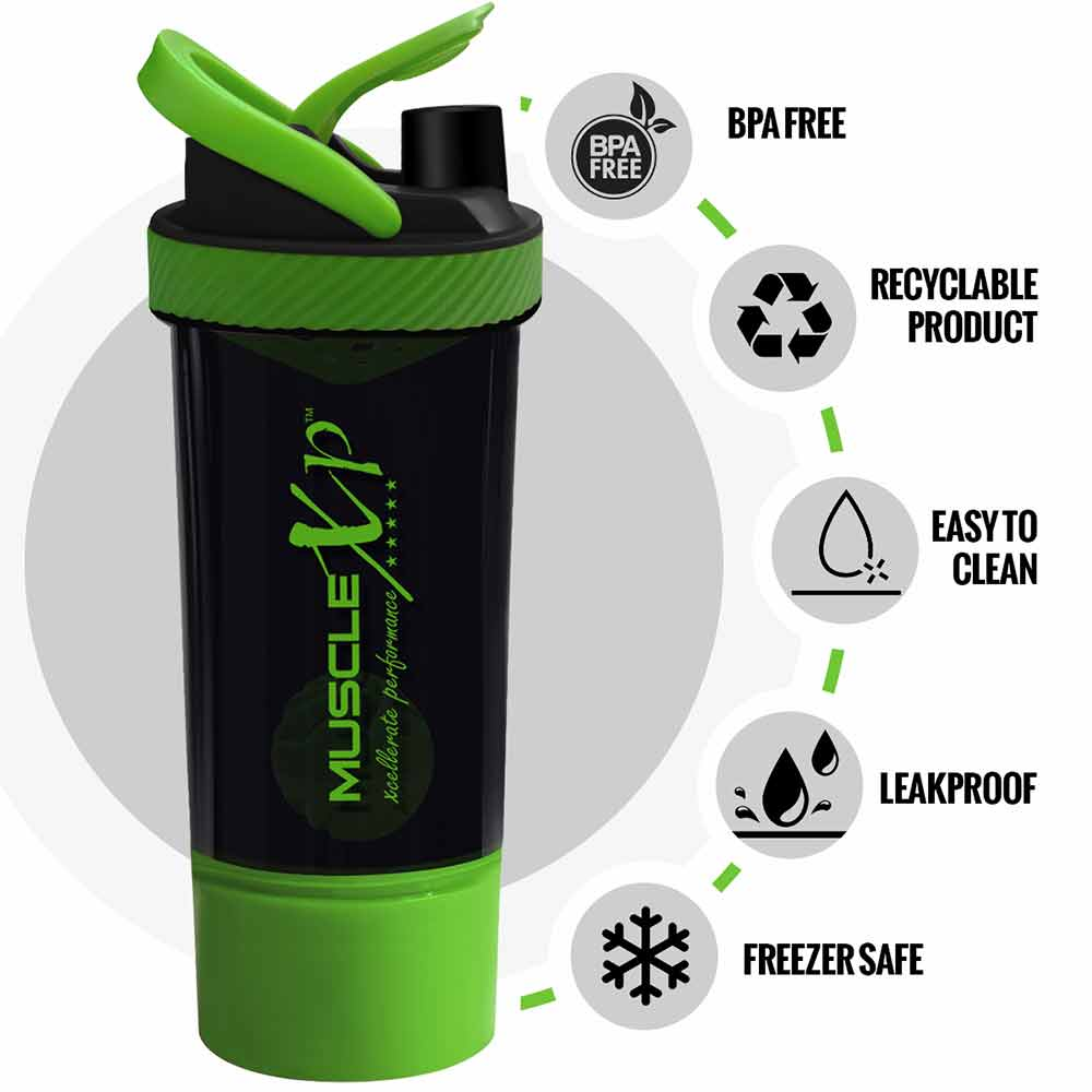 1 - MuscleXP Power XP Blender Shaker with Compartment,  Black & Green  700 ml