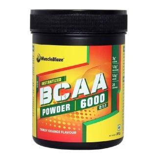 MuscleBlaze BCAA 6000 Amino Acid Powder,  0.44 lb  25 Servings (Tangy Orange)