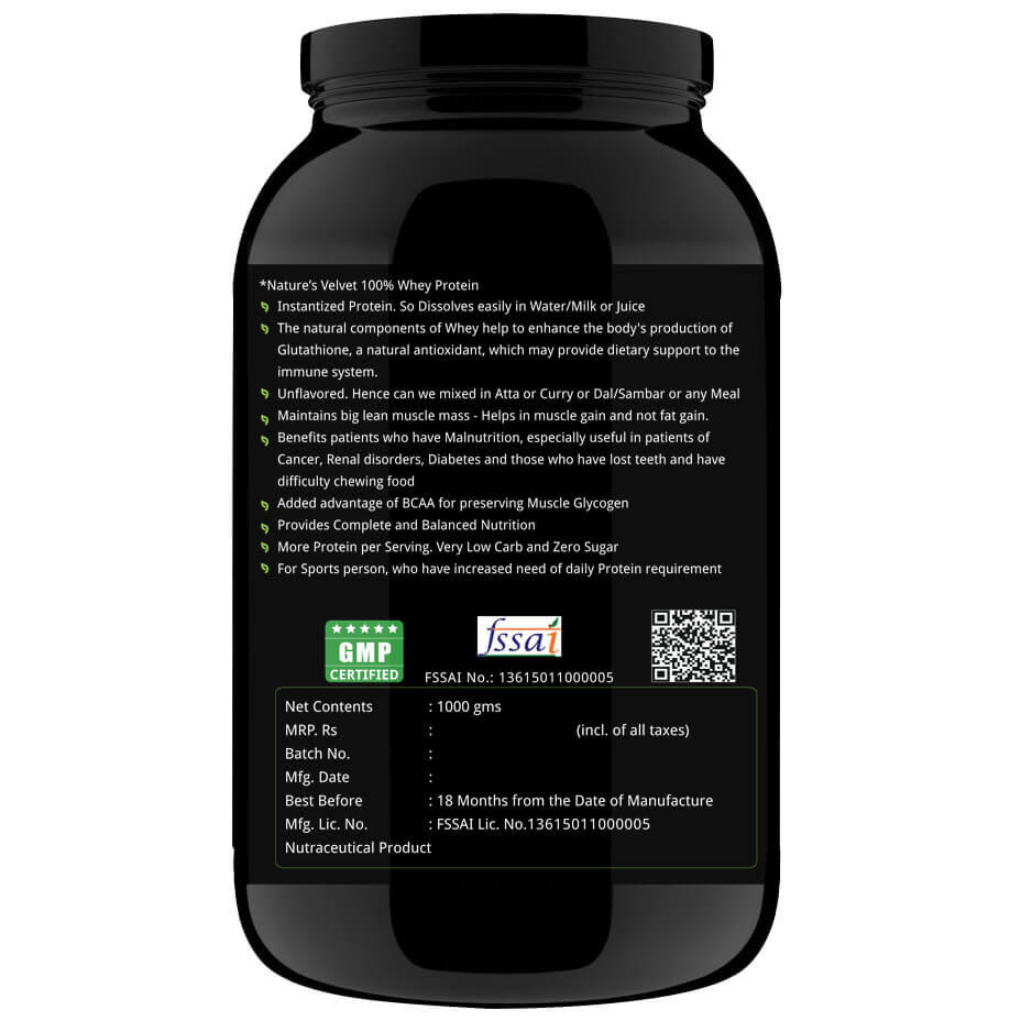 Natures Velvet 100% Whey Protein,  Unflavoured  2.2 lb