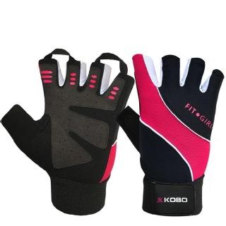 KOBO Ladies Gym Gloves (WTG-15),  Black & Pink  XL