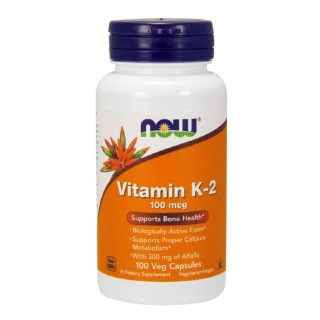 Now Vitamin K-2 (100mcg),  Unflavoured  100 veggie capsule(s)