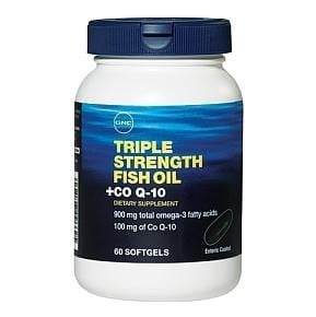 Gnc triple strength fish oil with coq10 60 softgels for Coq10 and fish oil